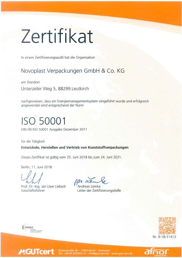 ISO 50001 Energy management certificate